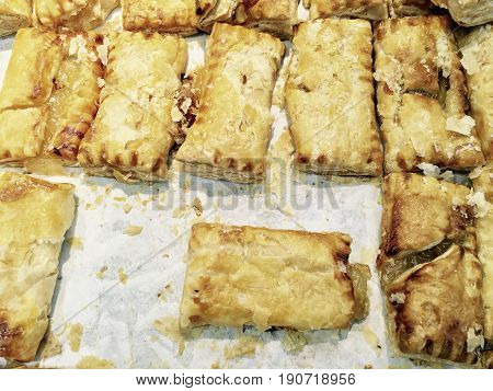 Traditional Homemade Small Puff Pie Stuffed with Sour and Sweet Pineapple Deep Fried or Baked Pastry Shell.