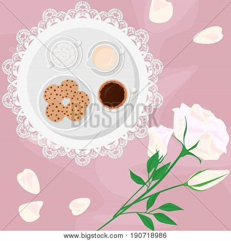 Vector illustration of morning coffee, milk, sugar and sweets in bed with flowers and biscuits with chocolate drops, on pink background in flat cartoon style