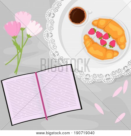 Vector illustration of morning coffee and sweets in bed with book, flowers and raspberry, croissant in flat cartoon style
