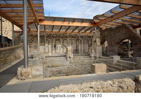 Preserved Roman baths in the thermal village of Caldes de Malavella, Catalunya, Spain