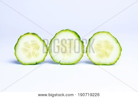 Cucumber slices ja isolated on white background