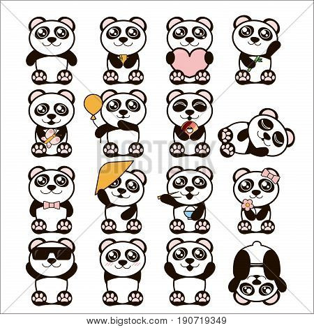 Vector illustration set of cute pandas. Happy panda stickers in flat style