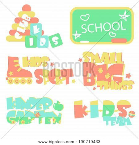 Vector illustration of promo sings for kids club and playing space for children