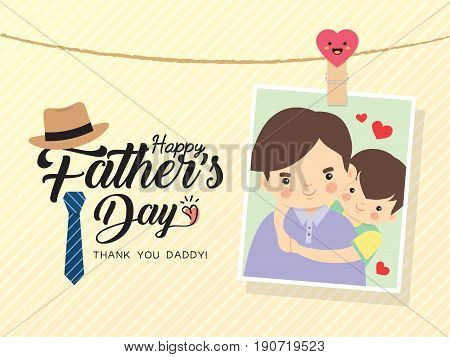 Happy Father's Day template design. Photo of cartoon father and son hugging together. Photo frame with pin and father's day greetings lettering decorated with hat, necktie. Vector illustration. poster