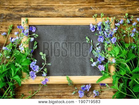 little delicate blue flowers persian speedwell blackboard in frame on a wooden table space for text