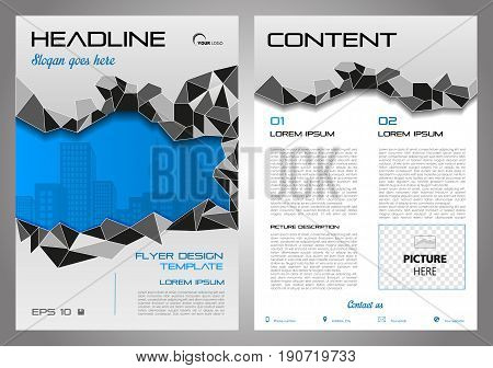 Vector Flyer, Corporate Business, Annual Report, Brochure Design And Cover Presentation With Grey Po