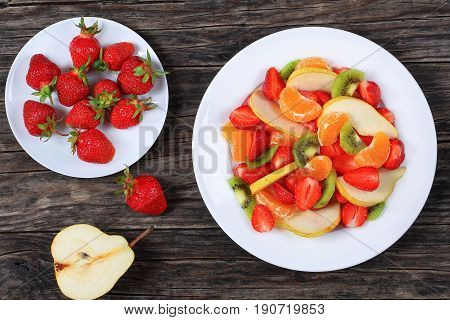 Fruit Salad Of Strawberry, Kiwi Fruit And Pear