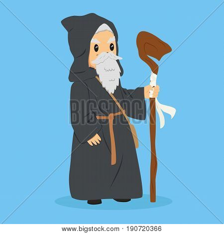 a long bearded wizard wearing a robe and holding a staff