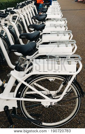 Copenhagen Denmark - August 10 2016. Row of white rental Go-bikes which can be hired per hour. Selective focus