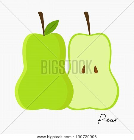 fresh pear and slice of pear vector