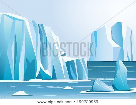 Vector illustration arctic landscape iceberg and mountains. Winter background