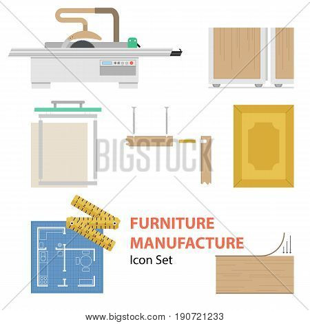 Vector furniture manufacture flat set. Infographics of process of production cabinet furniture isolated on white background