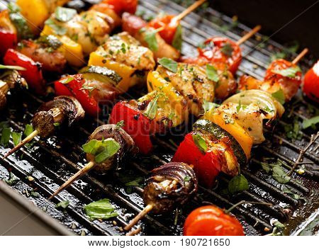 Grilled vegetable and meat skewers in a herb marinade on a grill pan