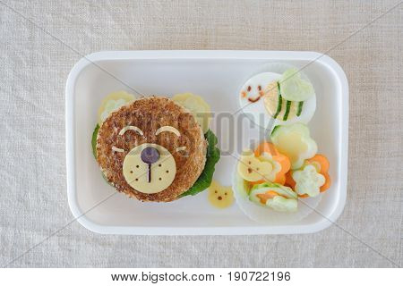 bear lunch box, kid lunch food art
