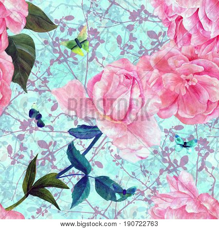 Seamless pattern with watercolor drawings of blooming pink roses, camellias, peonies, and butterflies, hand painted on a teal texture with abstract ink branches and buds