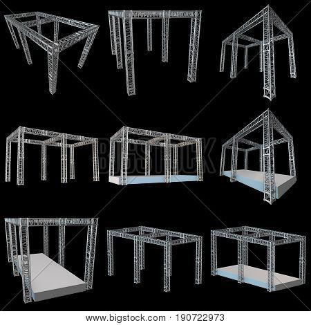 Steel truss girder rooftop construction set. 3d render on black