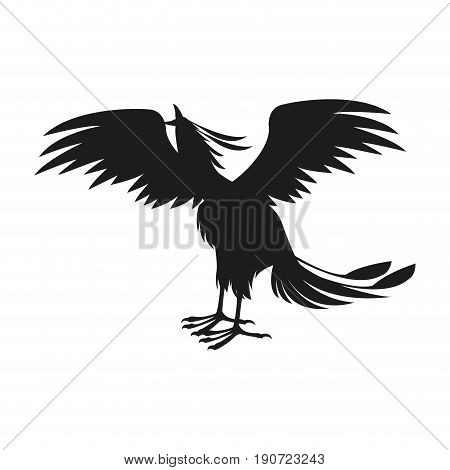 phoenix bird with rising wings ancient symbol of revival vector illustration