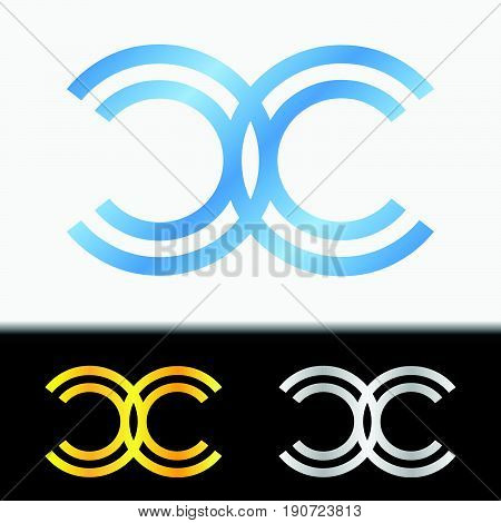 Initial letter CC premium blue metallic rotated lowercase logo template in white background, and custom preview in gold and silver color