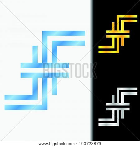 Initial letter FF premium blue metallic rotated lowercase logo template in white background, and custom preview in gold and silver color