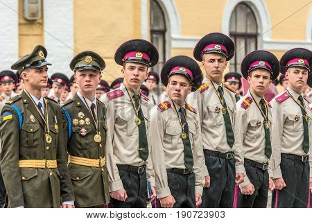 KYIV, UKRAINE - May 26, 2017: Students of the Kiev military lyceum of Ivan Bohun take part in the celebrations dedicated to the end of the academic year. The best graduates of the Lyceum.