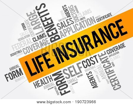 LIFE Insurance word cloud collage healthcare concept background