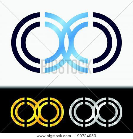Initial letter OO premium blue metallic rotated lowercase logo template in white background, and custom preview in gold and silver color