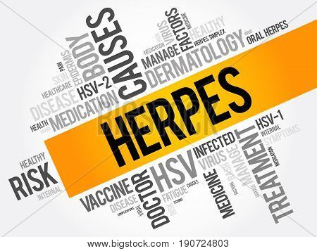 Herpes Word Cloud Collage, Health Concept Background