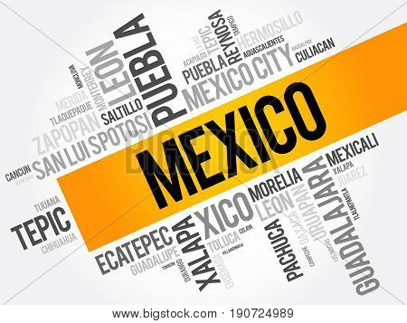 List Of Cities And Towns In Mexico, Word Cloud Collage, Business And Travel Concept Background