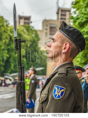 KYIV, UKRAINE - May 26, 2017: Ceremony on the occasion of the end of the academic year in the Kiev military lyceum of Ivan Bohun. Guard of honor.