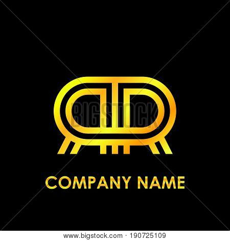 Initial letter RR elegant gold reflected lowercase logo template in black background