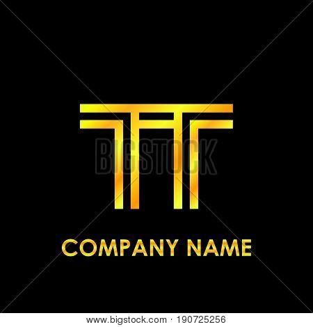 Initial letter TT elegant gold reflected lowercase logo template in black background