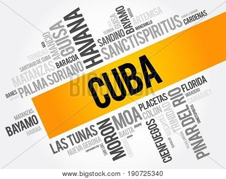 List Of Cities And Towns In Cuba, Word Cloud Collage, Business And Travel Concept Background