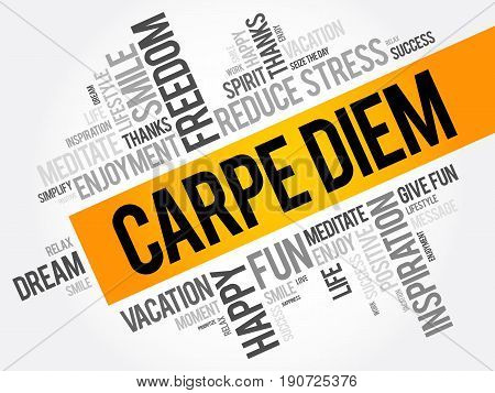 Carpe Diem Word Cloud Collage, Concept Background