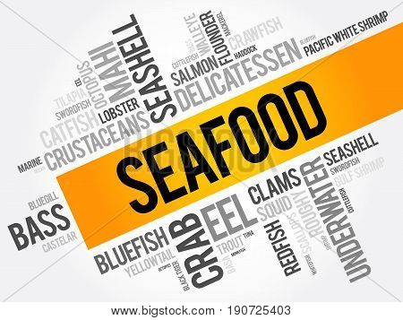 Seafood Word Cloud Collage, Food Concept Background