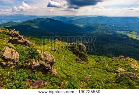 Hill Side With Boulders In Carpathian Mountains