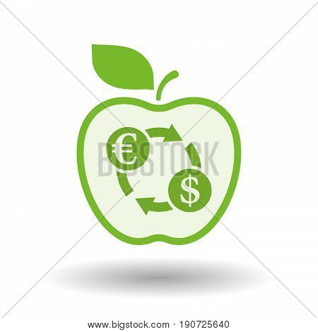 Isolated Apple With  An Euro Dollar Exchange Sign
