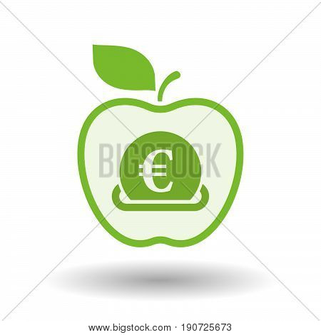 Isolated Apple With  An Euro Bank Note