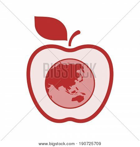 Isolated Apple With  An Asia Pacific World Globe Map