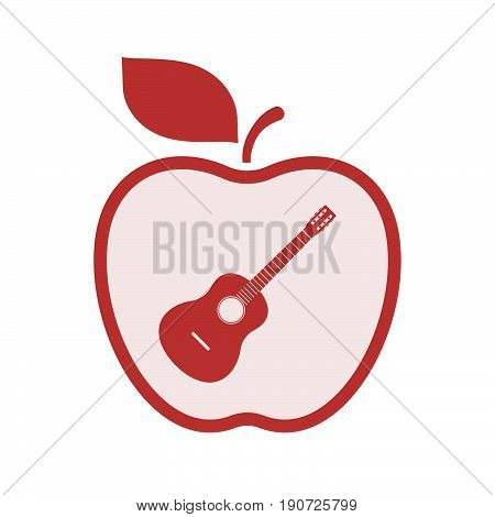 Isolated Apple With  A Six String Acoustic Guitar