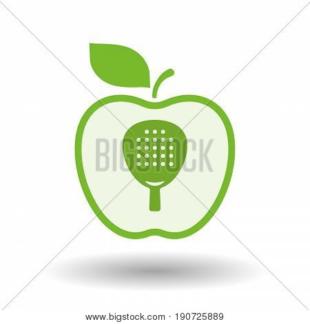 Isolated Apple With  A Paddle Racket