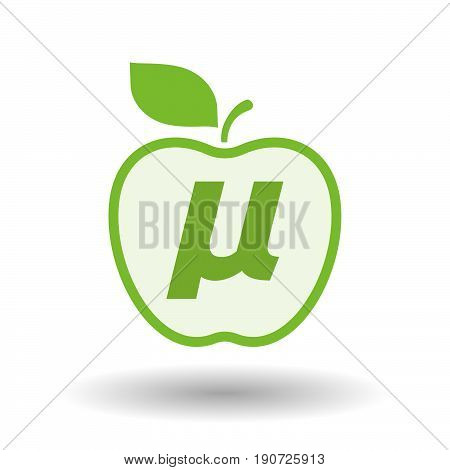 Isolated Apple With  A Micro Sign, Mu Greek Letter