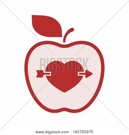 Isolated Apple With  A Heart Pierced By An Arrow
