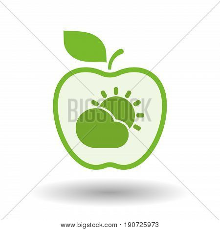 Isolated Apple With  The Sun Shining Behind A Cloud