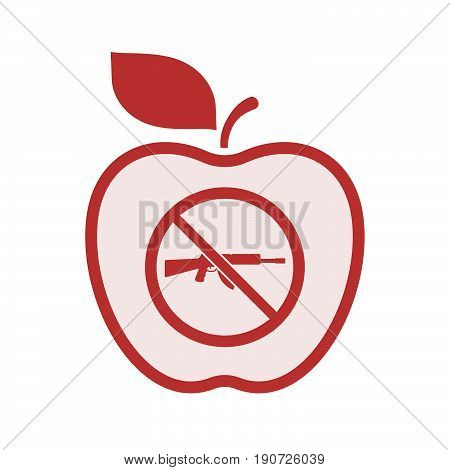 Isolated Apple With  A Rifle  In A Not Allowed Signal