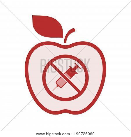 Isolated Apple With  A Syringe  In A Not Allowed Signal
