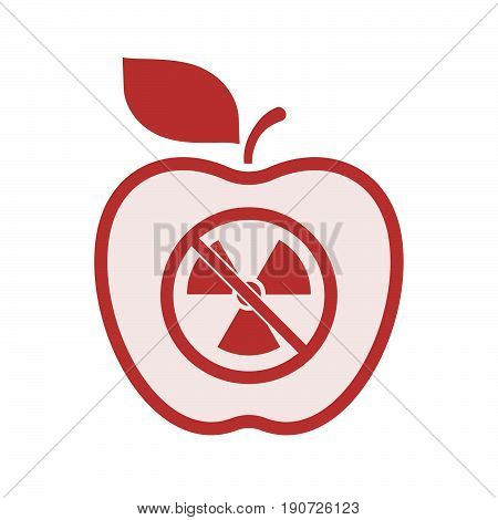 Isolated Apple With  A Radioactivity Sign  In A Not Allowed Signal