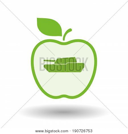 Isolated Apple With  A Combat Tank