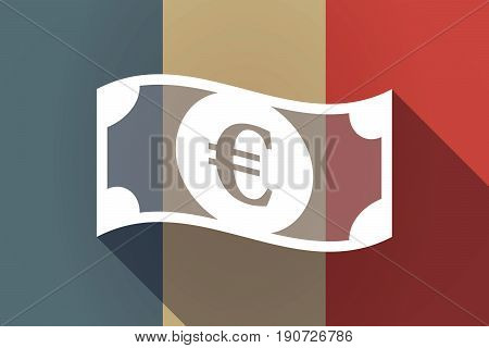 Long Shadow France Flag With  An Euro Bank Note