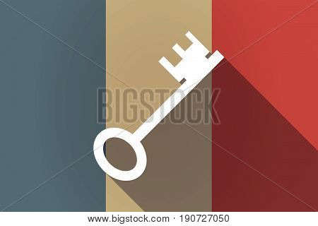 Long Shadow France Flag With  A Vintage Key