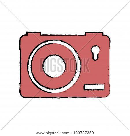 camera icon over white background colorful design vector illustration